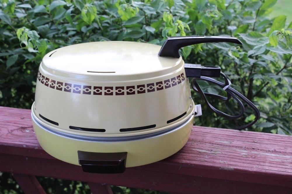 Excellent Mirro Portable Electric Broiler Vintage Harvest Gold