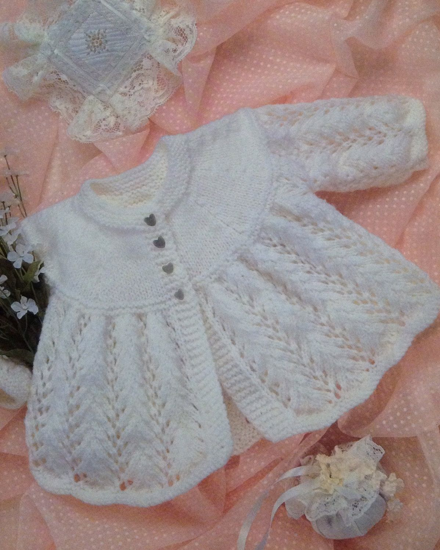 "20/"" 16/"" DK Knitting Pattern Baby Round Neck Matinee Coats 3 Designs"