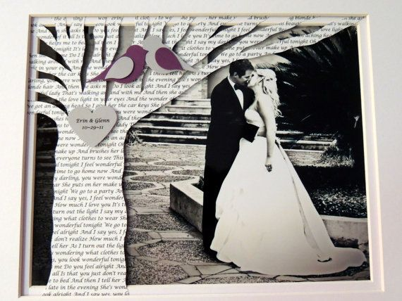 Unique First Anniversary Gift With Song Lyrics Or Vows On Tree Your Picture Framed