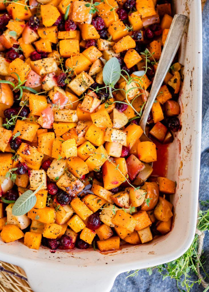 Butternut squash bake with cranberries and apples cafe
