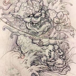 Foodog sketch sketch drawing illustration foodog hannya asiantattoo asianink irezumi - Dessin dragon japonais ...
