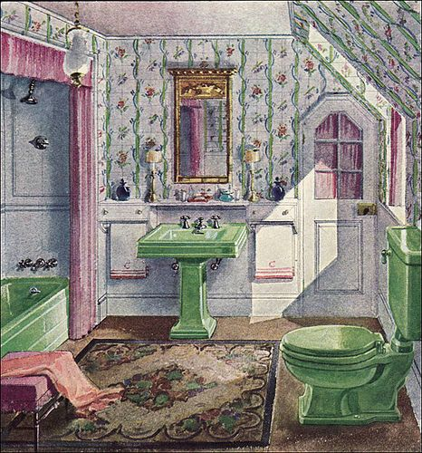 this is amazing love the green sink, toilet and tub! @ 1929, Badezimmer