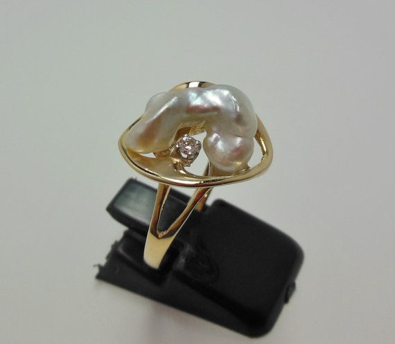 14k yellow gold and half an inch Baroque pearl by OnlyJewelsbyMJ, $220.00