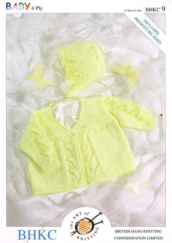 Prem Sizes Baby Matinee Coat And Bonnet Set Vintage Knitting Pattern