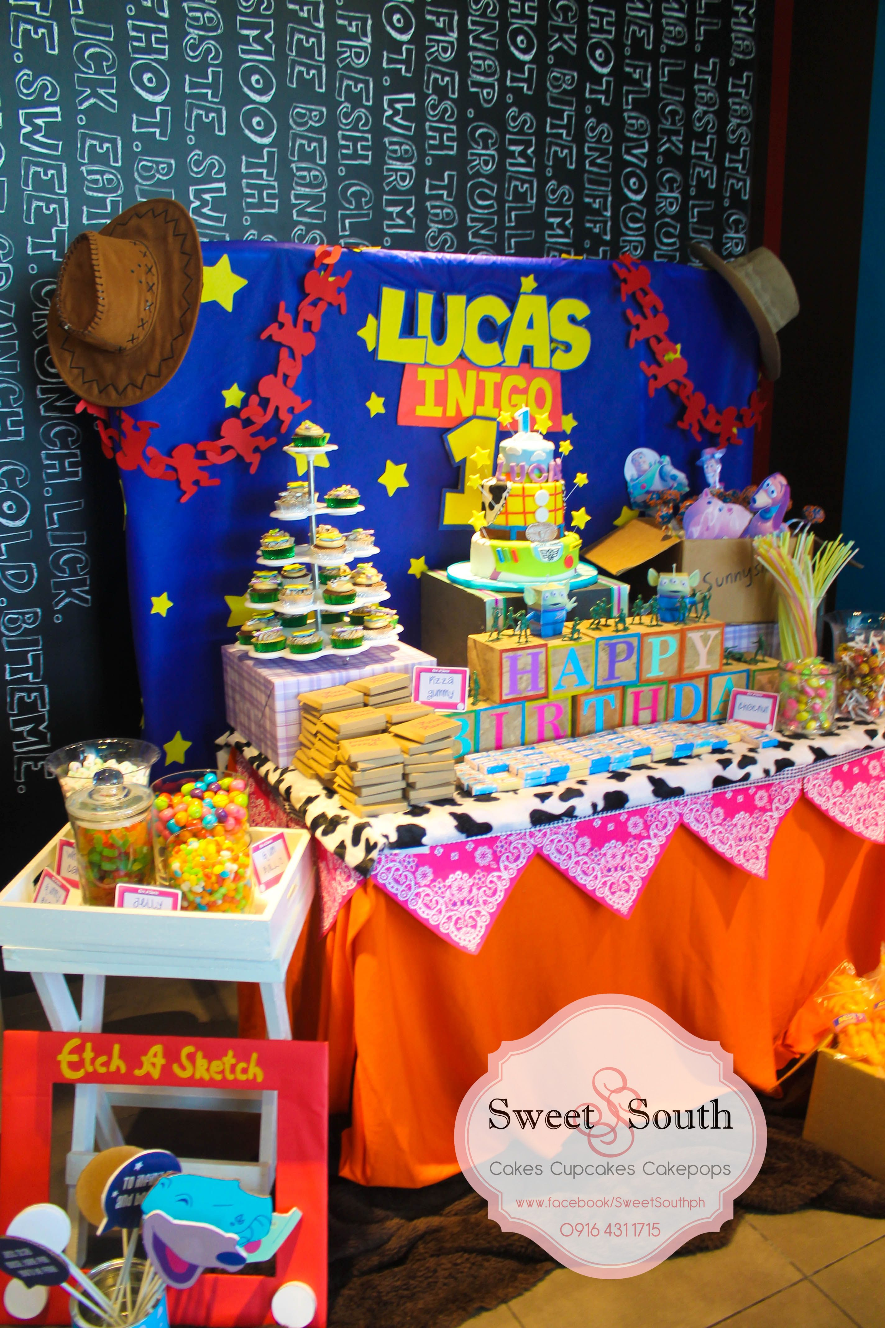 Toy story party candy buffet photo props