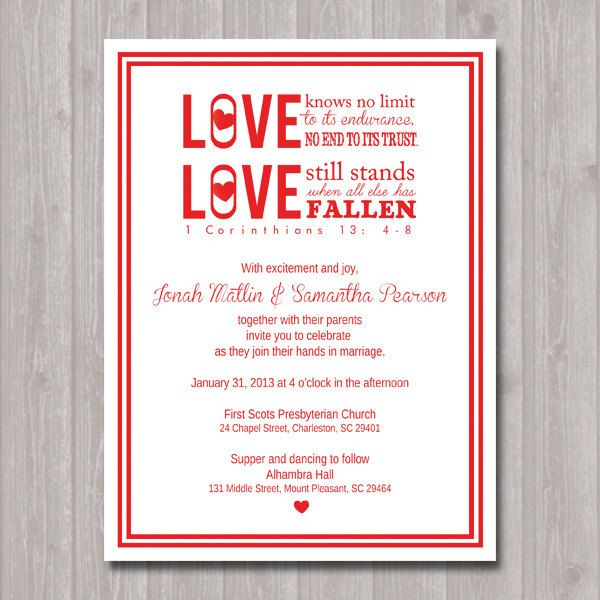 1 Corinthians Wedding or Commitment Ceremony Invitation in Red and