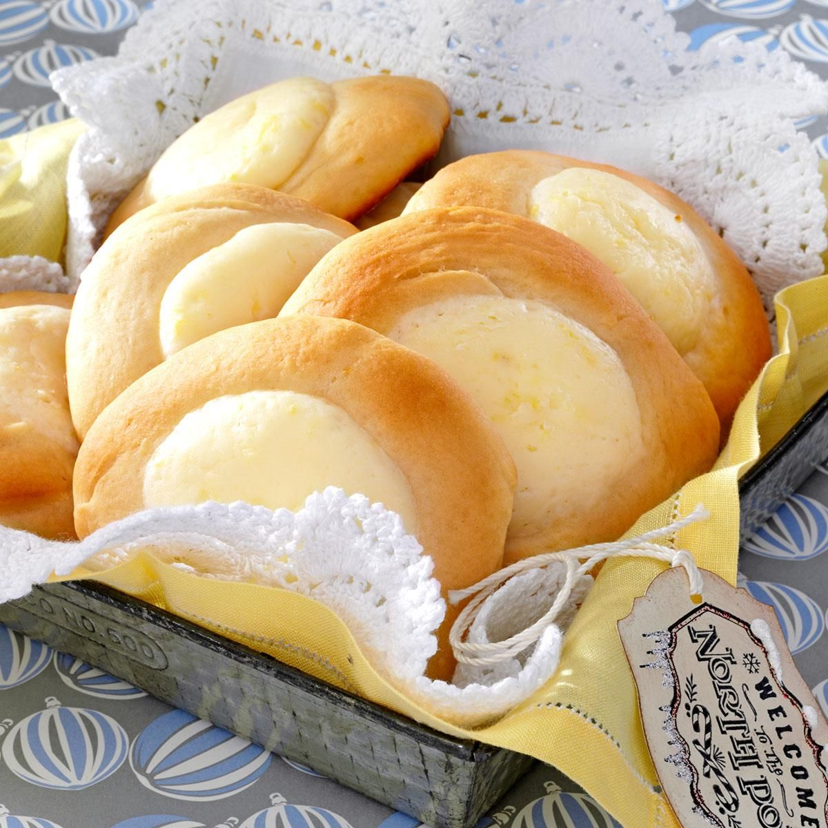 Lemon Kolaches Recipe -I love to bake and try new recipes. These soft rolls are a favorite. I like to experiment by adding different flavors to the creamy filling. —Eileen Weitnauer, Aitkin, Minnesota