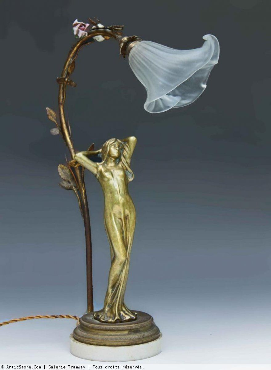 Art Nouveau Bronze Sculpture Lamp Ca 1890 1900 Attributed To