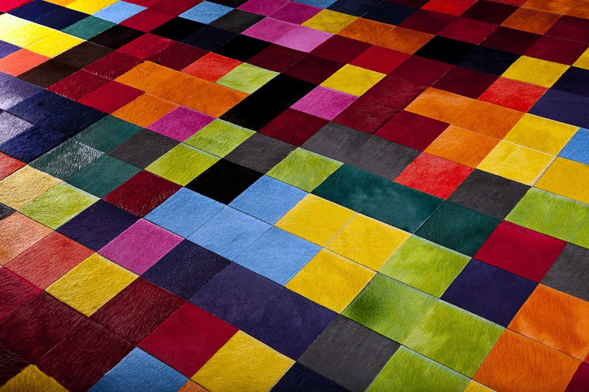 A Fantastic Bright Multi Coloured Cowhide Sched Rug Using 10cm Squares By Gorgeous Creatures
