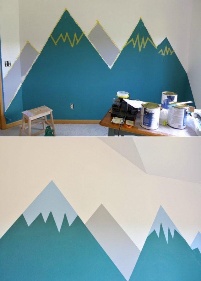 Dessin montagne stylisé en couleur pour décorer les murs
