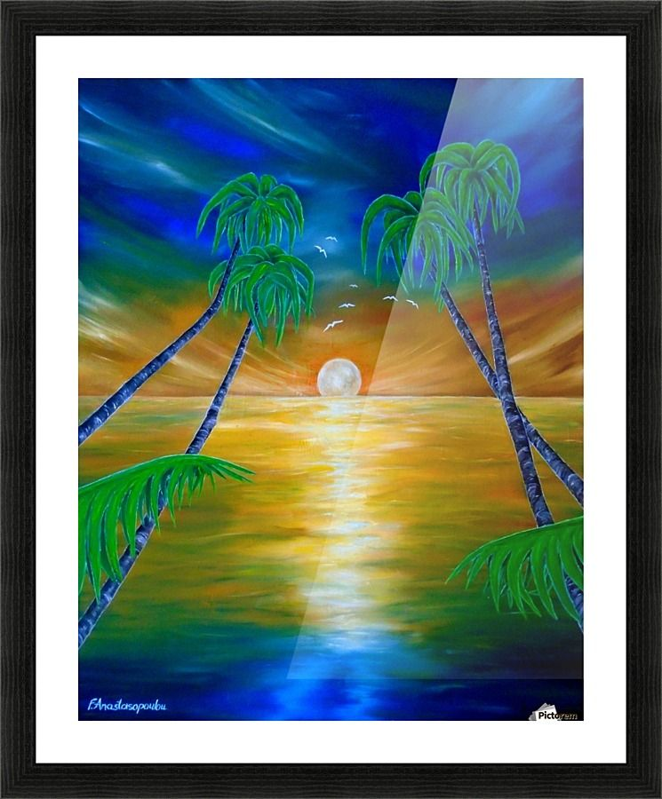 Framed print, painting, art, tropical, sunset, seascape, palmtrees ...