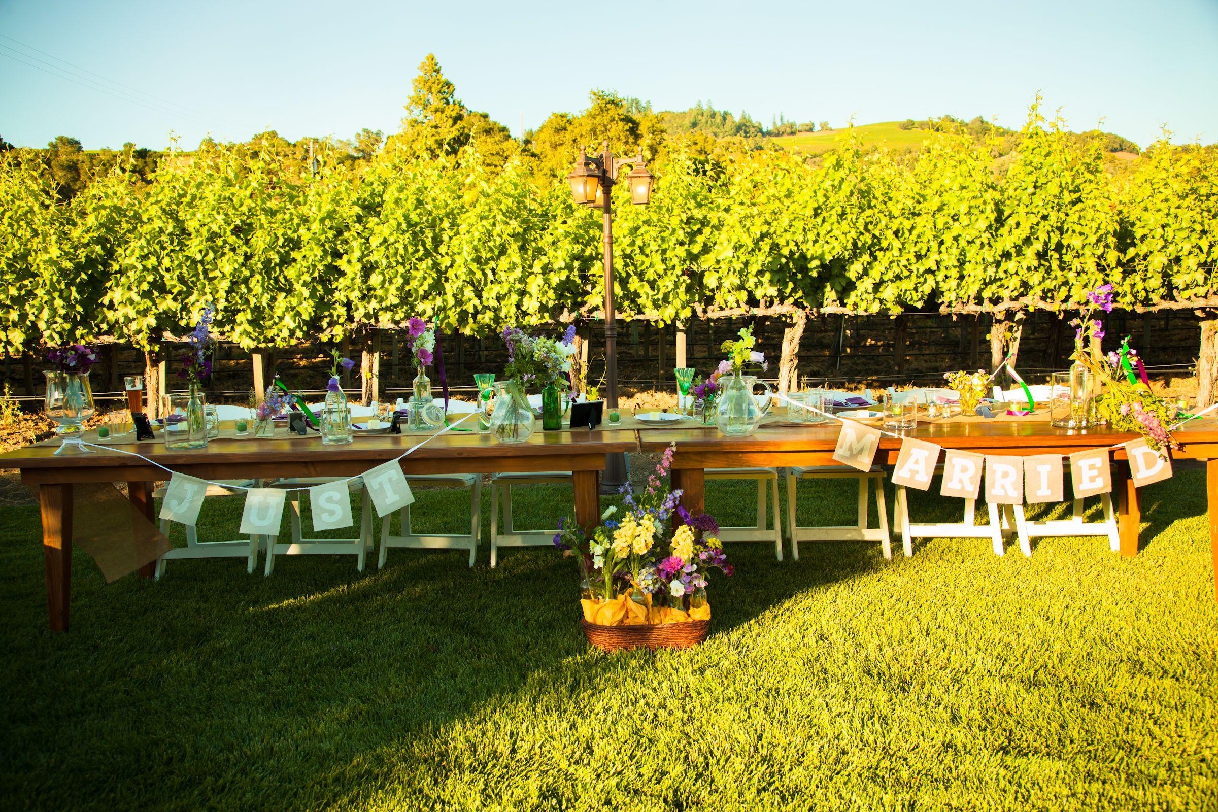 Fun head table idea at Jen and Chris' wedding at deLorimier Winery