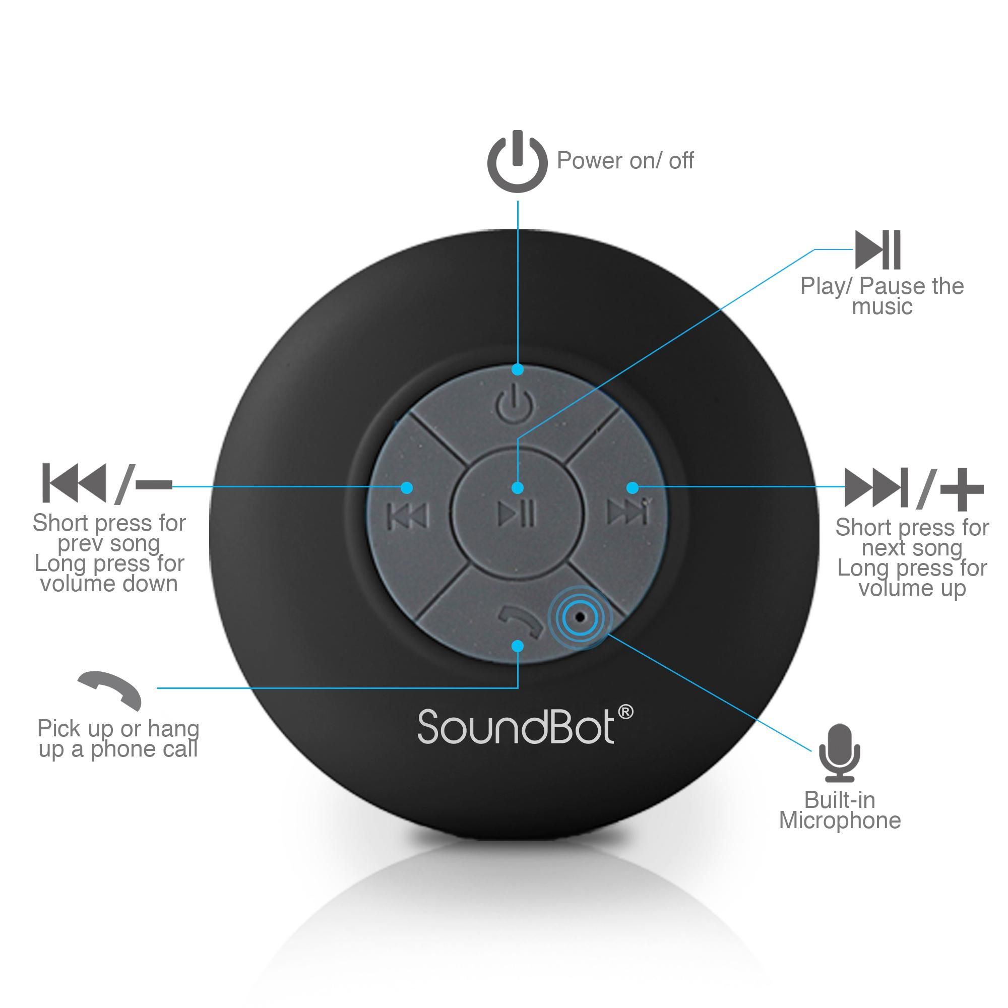 Handsfree SoundBot SB510 HD Water Resistant Bluetooth 3.0 Shower Speaker
