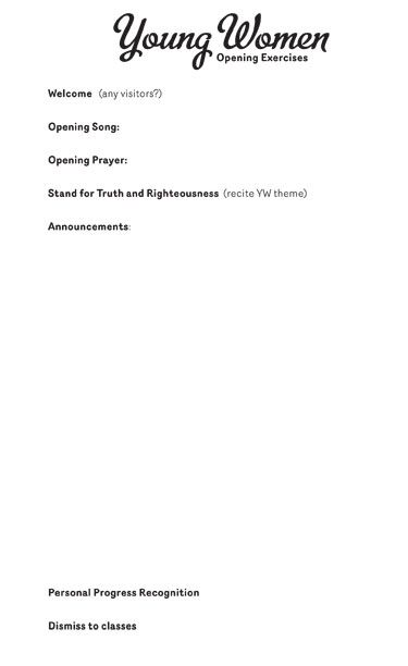 YW opening exercises announcement sheet from inkablinka - sample board meeting agenda