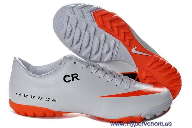 Cheap Cristiano Ronaldo SE Nike Mercurial Victory V TF White Orange football  Futsal Cheap Soccer Cleats Shop