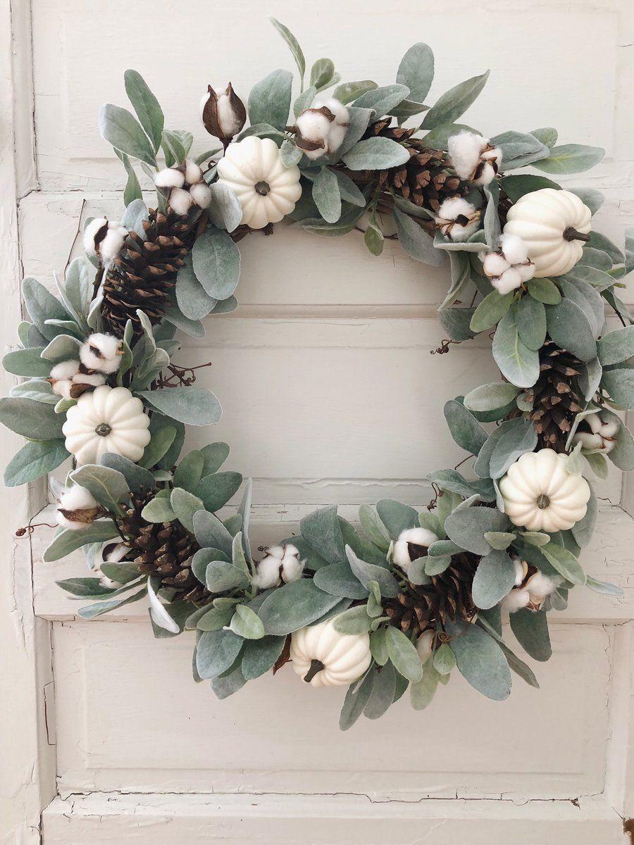 White Pumpkin Amp Lambs Ear Wreath Fall Wall Decor
