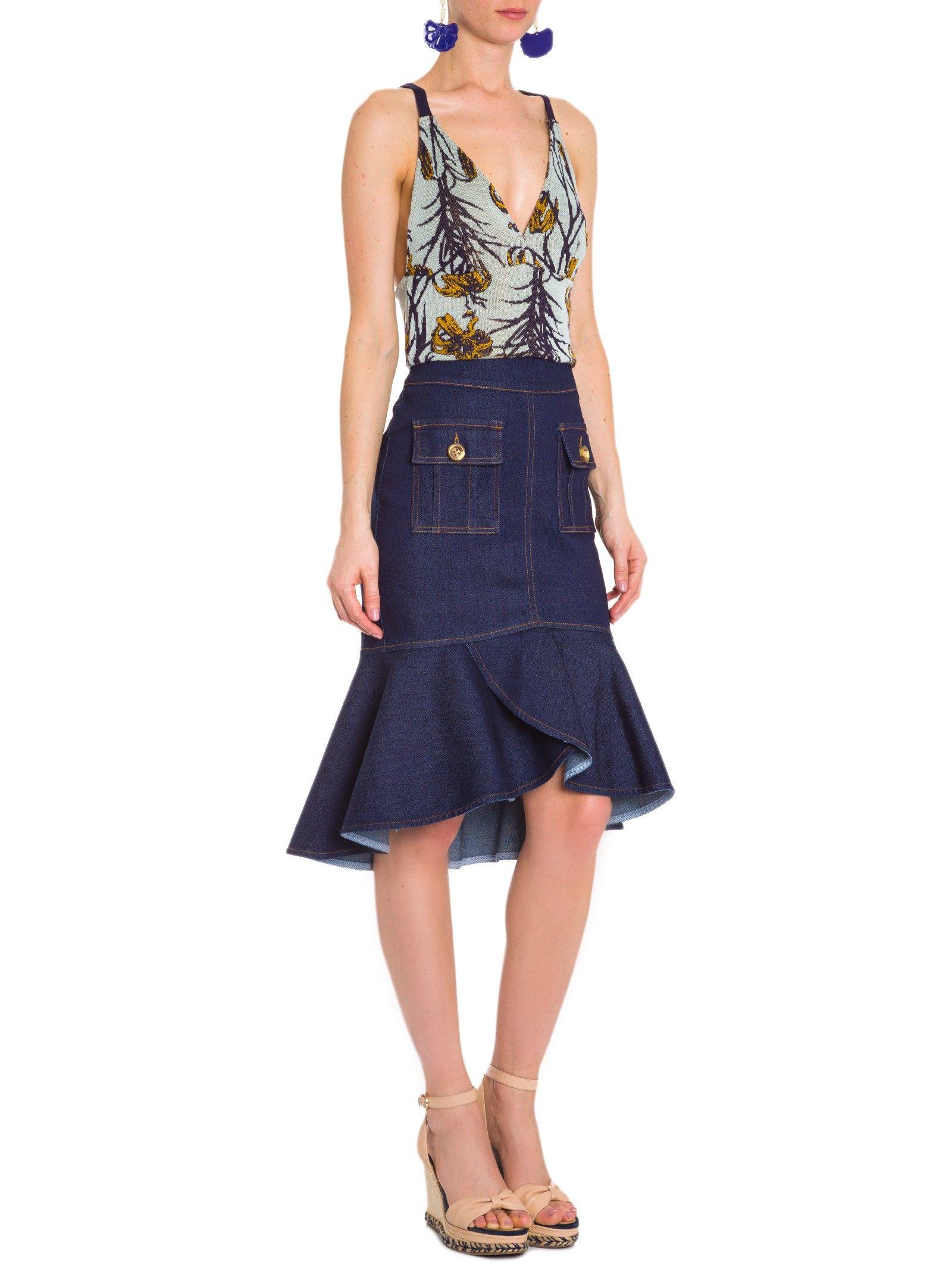 Top Jacquard Estampa Lily - Maria Filó - Azul - Shop2gether
