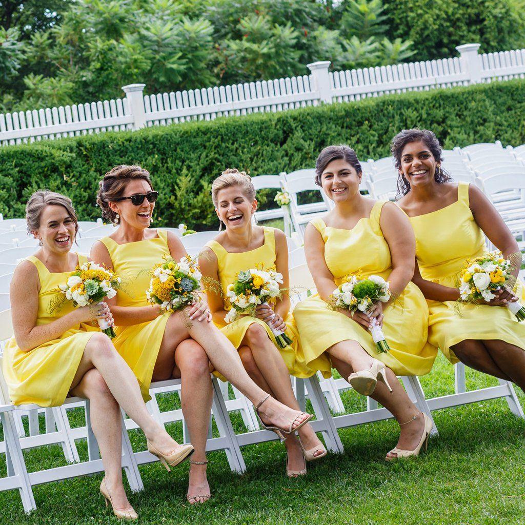 Short yellow kneelength bridesmaid dress sleeveless satin backless
