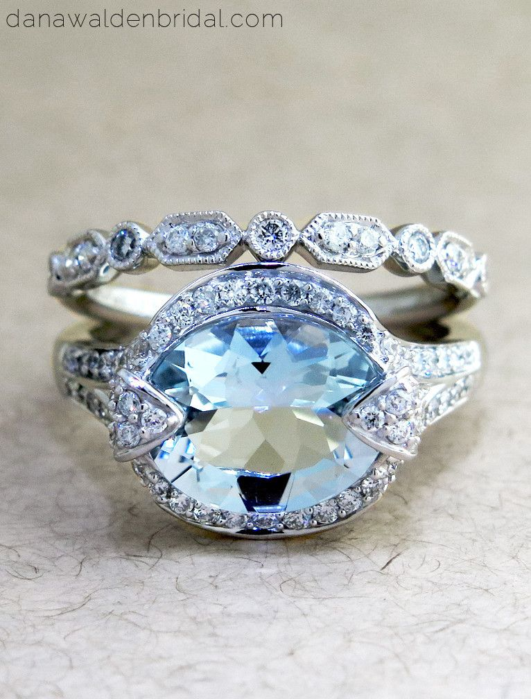 affordable engagement ring by dana walden bridal in nyc sky blue aquamarine conflict free - Estate Wedding Rings