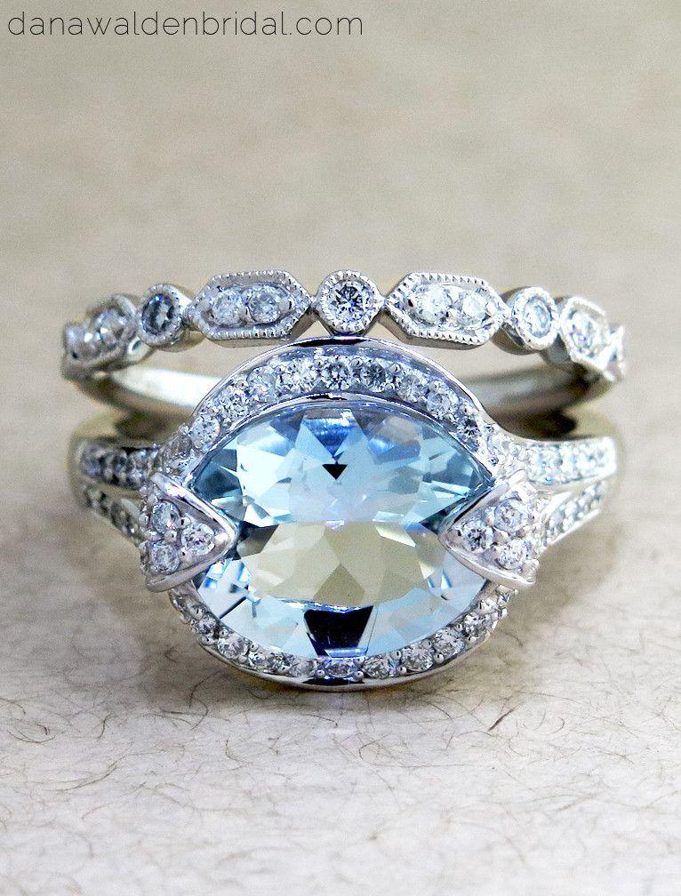 Petra 3 2ct Aquamarine Diamond Engagement Ring Vintage Engagement Rings Unique Designer Engagement Rings Wedding Rings Engagement