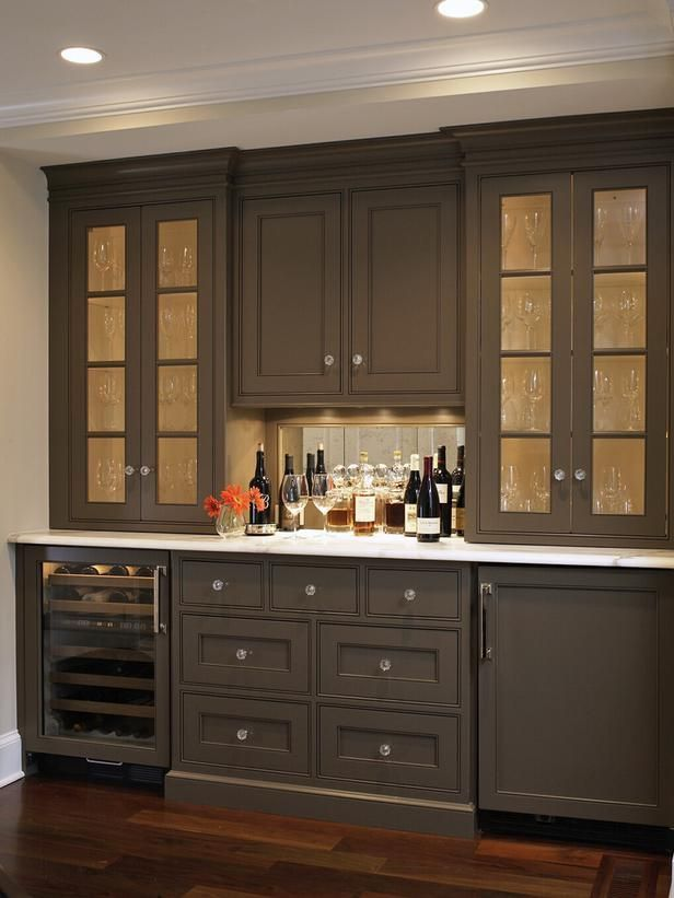 Love The Dark Paint Color Of This Built In Bar