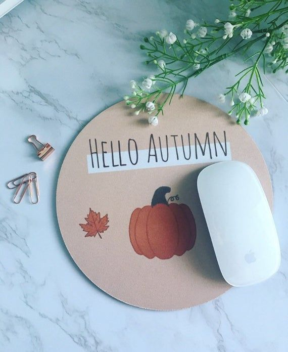 Hello Autumn Mouse Mat - cute - autumn - fall - halloween - illustrated - pumpkin - mouse pad #helloautumn