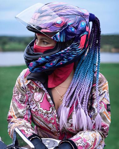 Icon Airmada Opacity Helmet with purple braid hair accessory