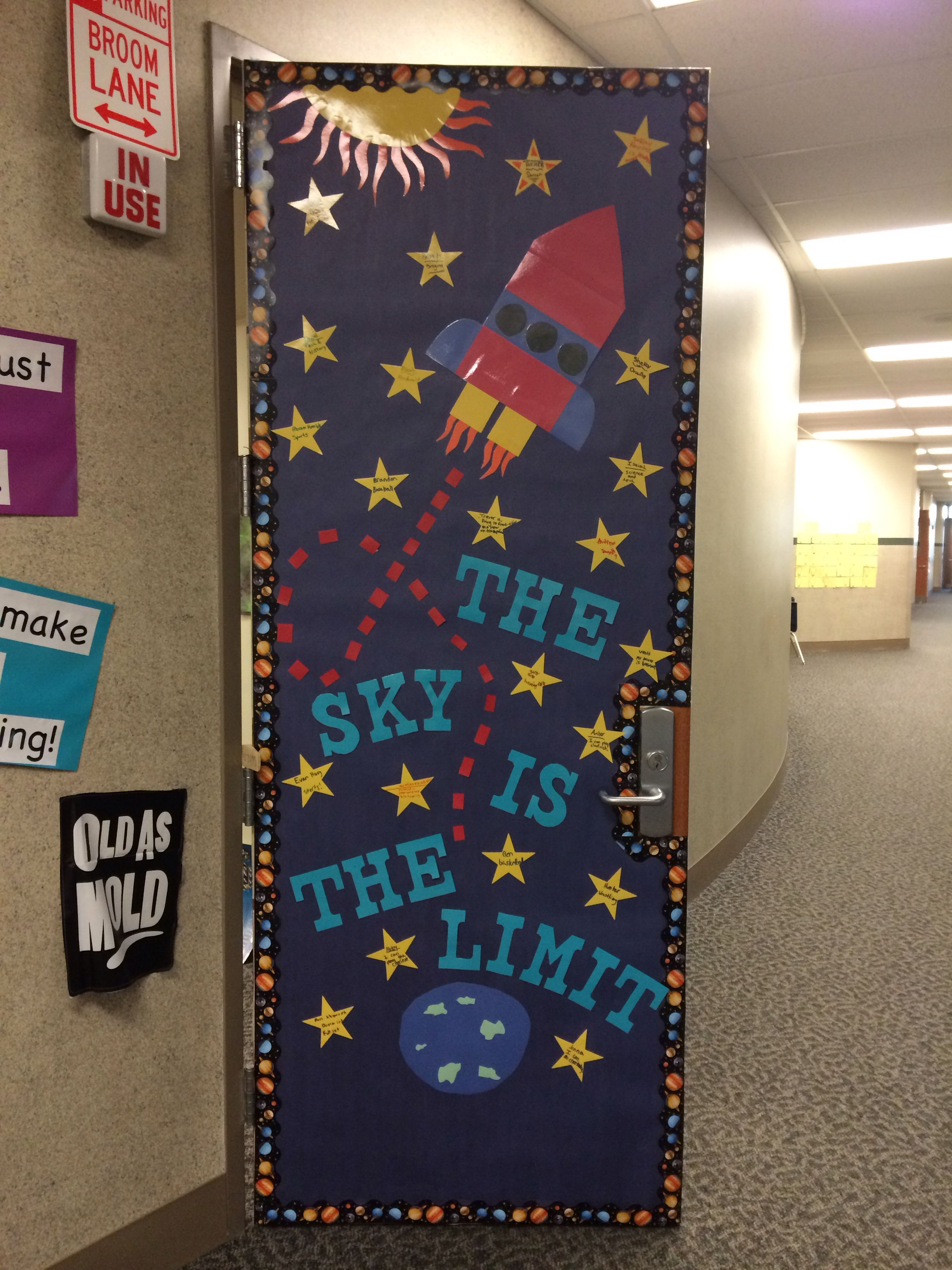 Classroom Decoration Space ~ The sky is limit my classroom door school stuff