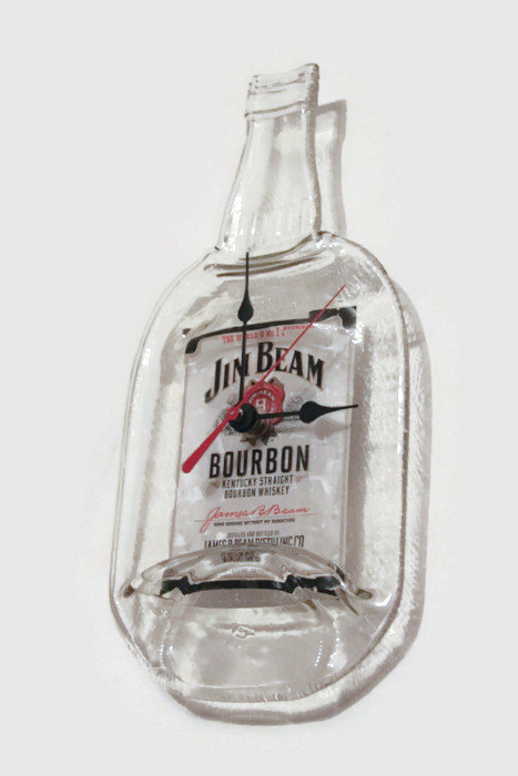Jim Beam, Bourbon, Jim Beam Wall Clock, Melted Bottle, Man Cave, Groomsman Gift, Gift for Him, Fathe