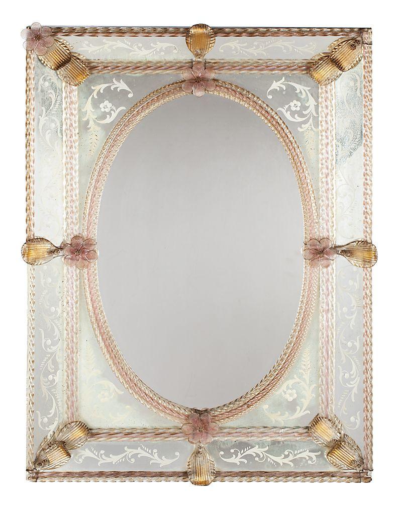 Espejo veneciano con marco de espejos grabados y vidrio de Murano ...