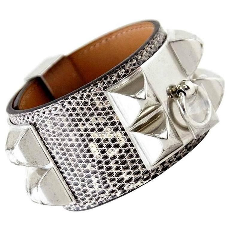 9bf3fcba754 HERMES Bracelet Iconic CDC Collier de Chien Cuff Ombre Lizard ...