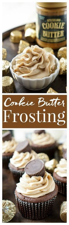 This Cookie Butter Frosting recipe is creamy and fluffy and perfect for topping cupcakes, sandwiching between cookies, or frosting cakes with! #cookiebutterpie