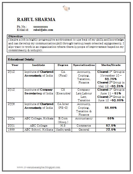 Curriculum Vitae Samples Resume For Fresher Chartered Accountant 1 Resume Accountant Resume Resume Format For Freshers