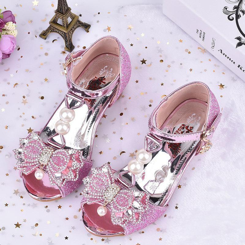 Kids Wedding High Big Heels Leather Sandals Girls Shoes DIEH29