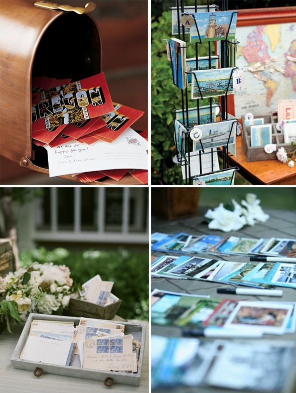 Vintage Postcards And An Antique Mailbox Present A Wonderful Alternative To The Standard Sign In Guest Postcard GuestbookGuestbook IdeasWedding