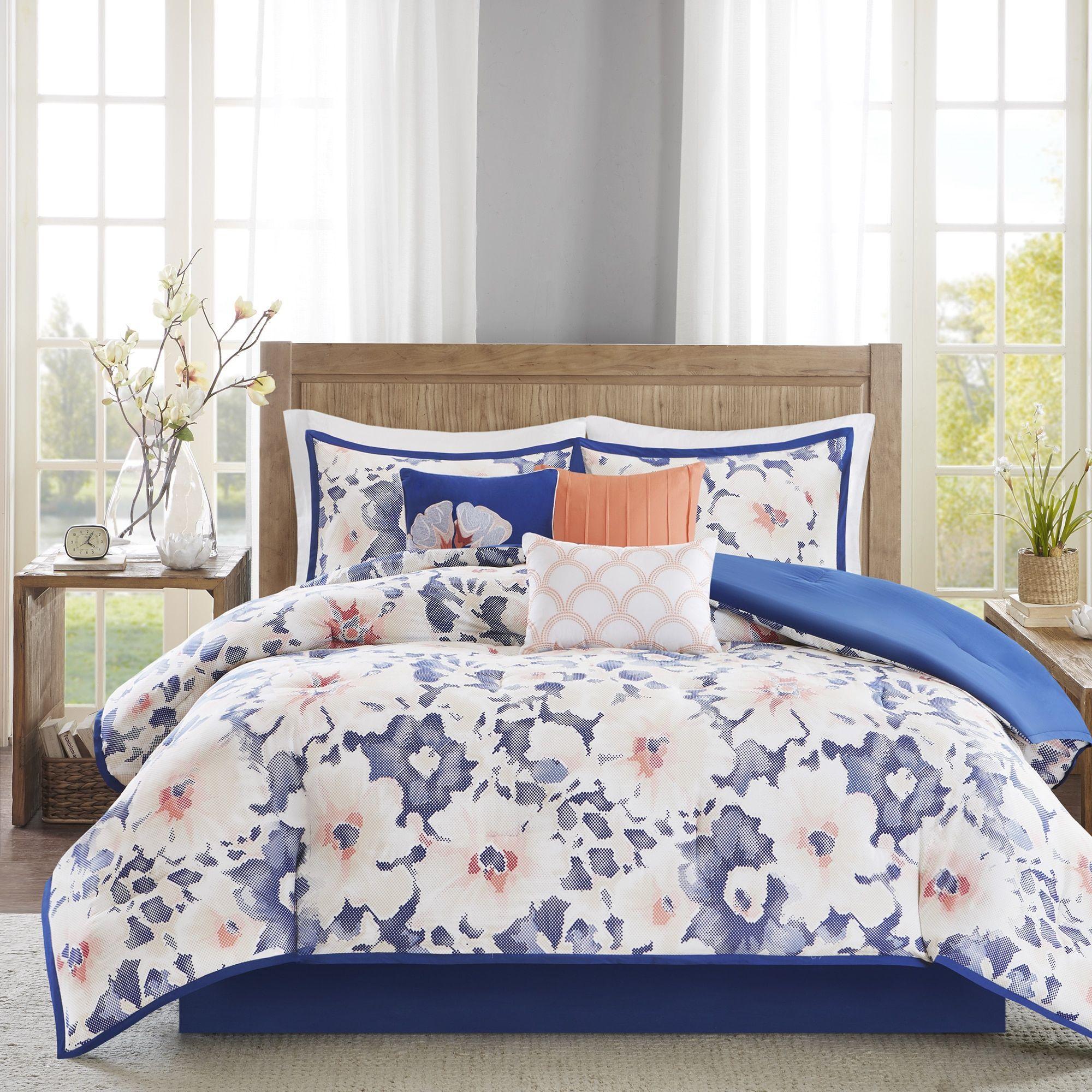 Madison Park Aria Navy Sateen 7-piece Comforter Set