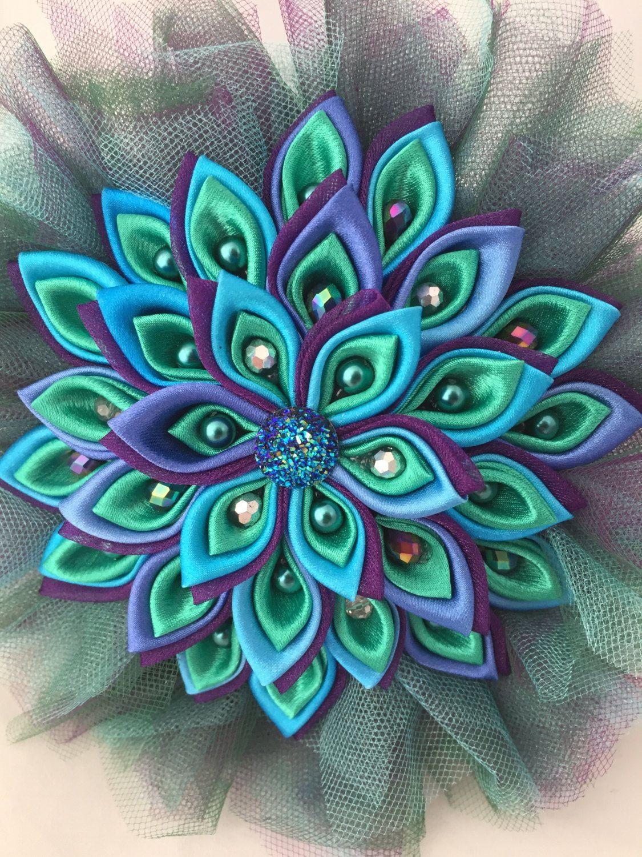 Peacock Bouquet, Handmade, Fabric Kanzashi Bouquet ... - photo#9