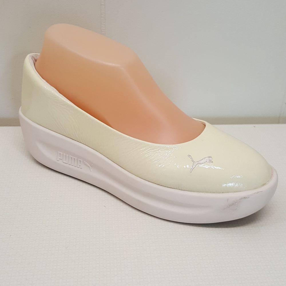 baeb22f9b86d PUMA GV Spadrille Patent Shoes 8 Slip On Wedge Ivory Cream Leather Rubber   PUMA  Wedge
