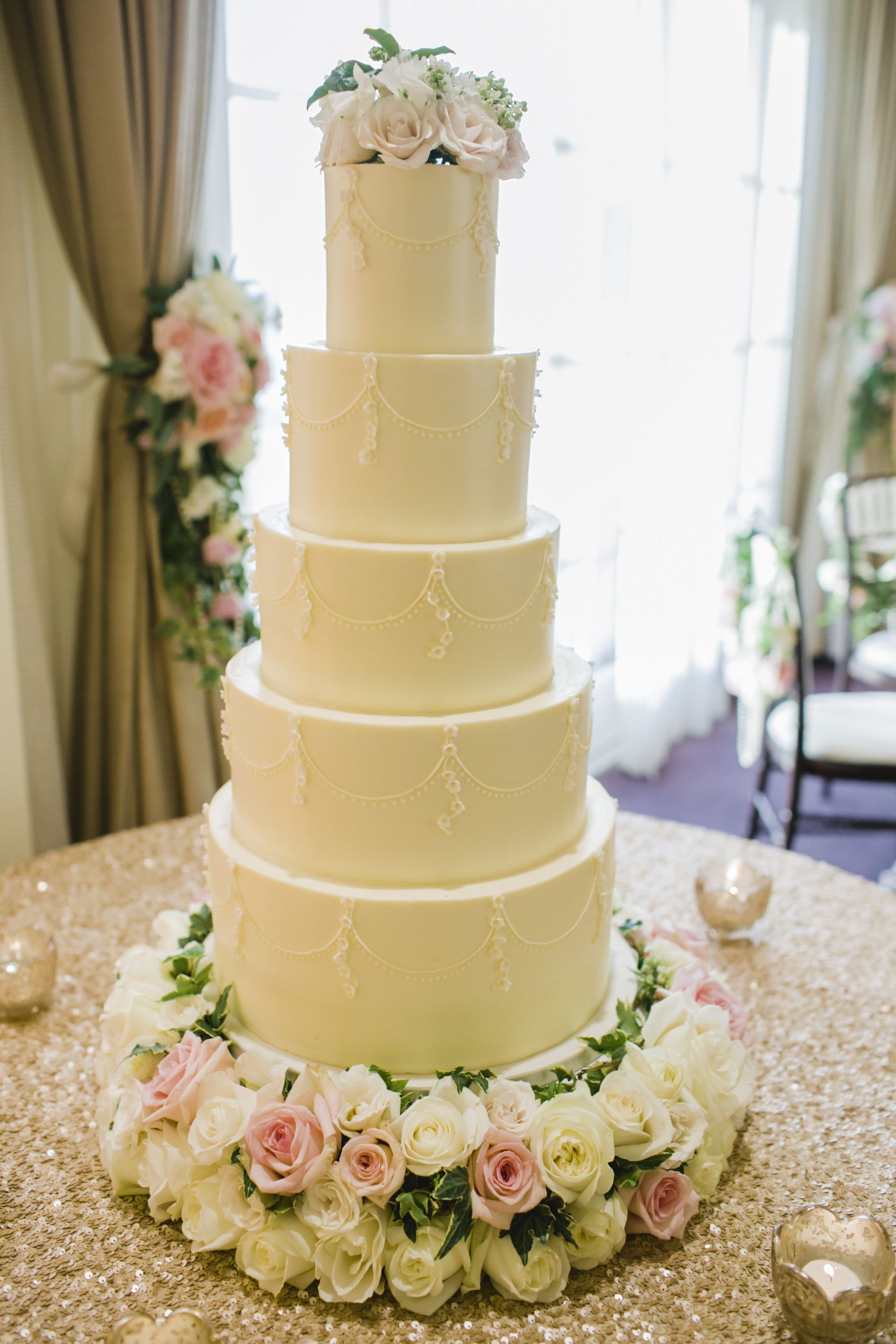 Large Wedding Cake 5 Tier Flower Stand Roses Light Pink And Ivory Florist Fls By Jenny Photograoher Focus Photo Inc