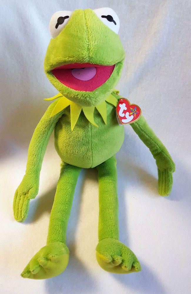 Ty Beanie Buddies Kermit the Frog Green Disney Muppet Plush 16