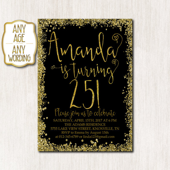 25th Birthday Invitation Party Gold Glitter Confetti Bla