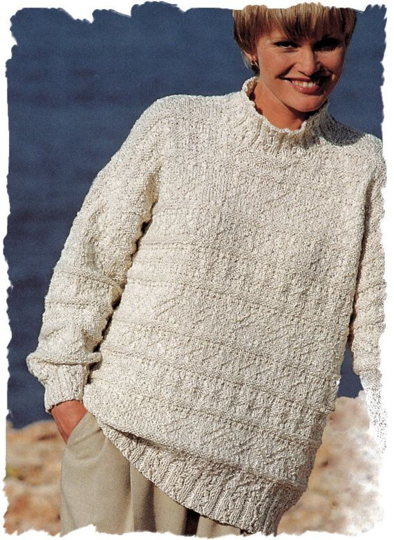 ca6aec97966c Instant Download PDF Eighties Knitting Pattern to make a Loose Fit Oversize  Baggy Slouch Sweater Unisex Sizes 30 to 44 inch Bust Chest