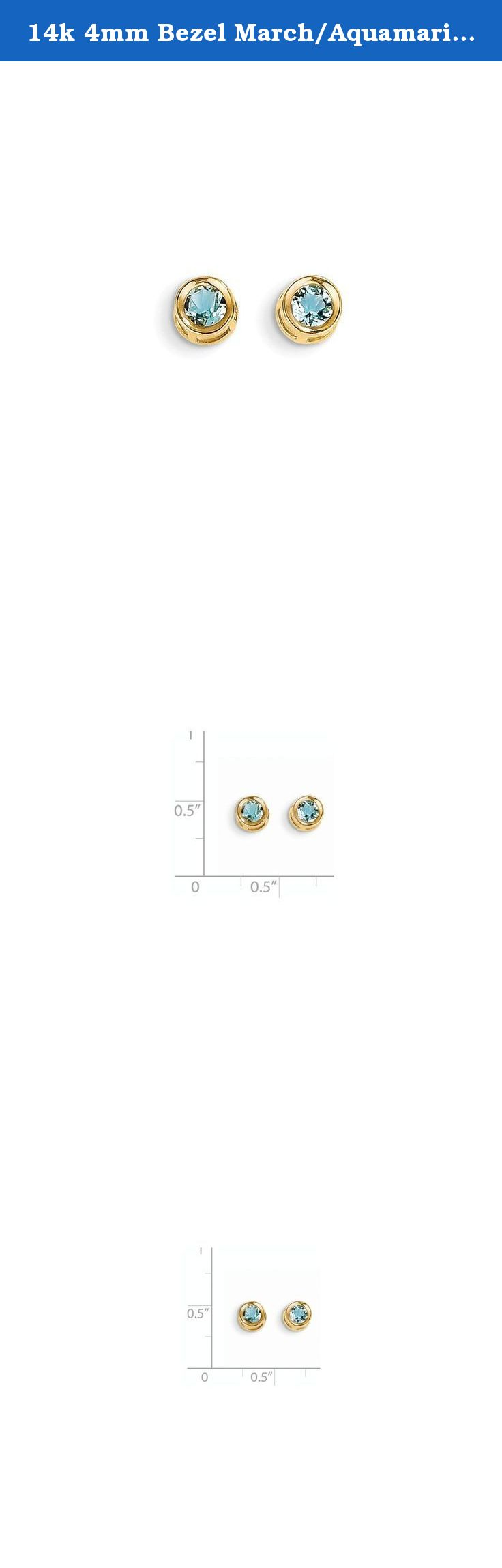 14k 4mm Bezel March/Aquamarine Post Earrings, Gem Ctw.0.5. Attributes 14k Yellow gold Post Genuine Aquamarine Bezel Product Description Material: Primary - Purity:14K Stone Type 1:Aquamarine Stone Color 1:Blue Stone Quantity 1:2 Length of Item:5 mm Stone Weight 1:0.250 ct Charm/Element Length:4 mm Charm/Element Width:4 mm Material: Primary:Gold Stone Shape 1:Round Stone Size 1:4.00 mm Stone Treatment 1:Heating Width of Item:5 mm Product Type:Jewelry Jewelry Type:Earrings Sold By Unit:Pair...