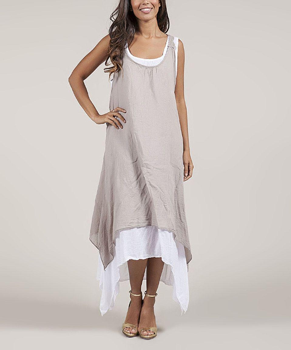 Beige White Layered Handkerchief Dress Plus Too Racerback Maxi Dress Dresses Maxi Dress [ 1152 x 959 Pixel ]