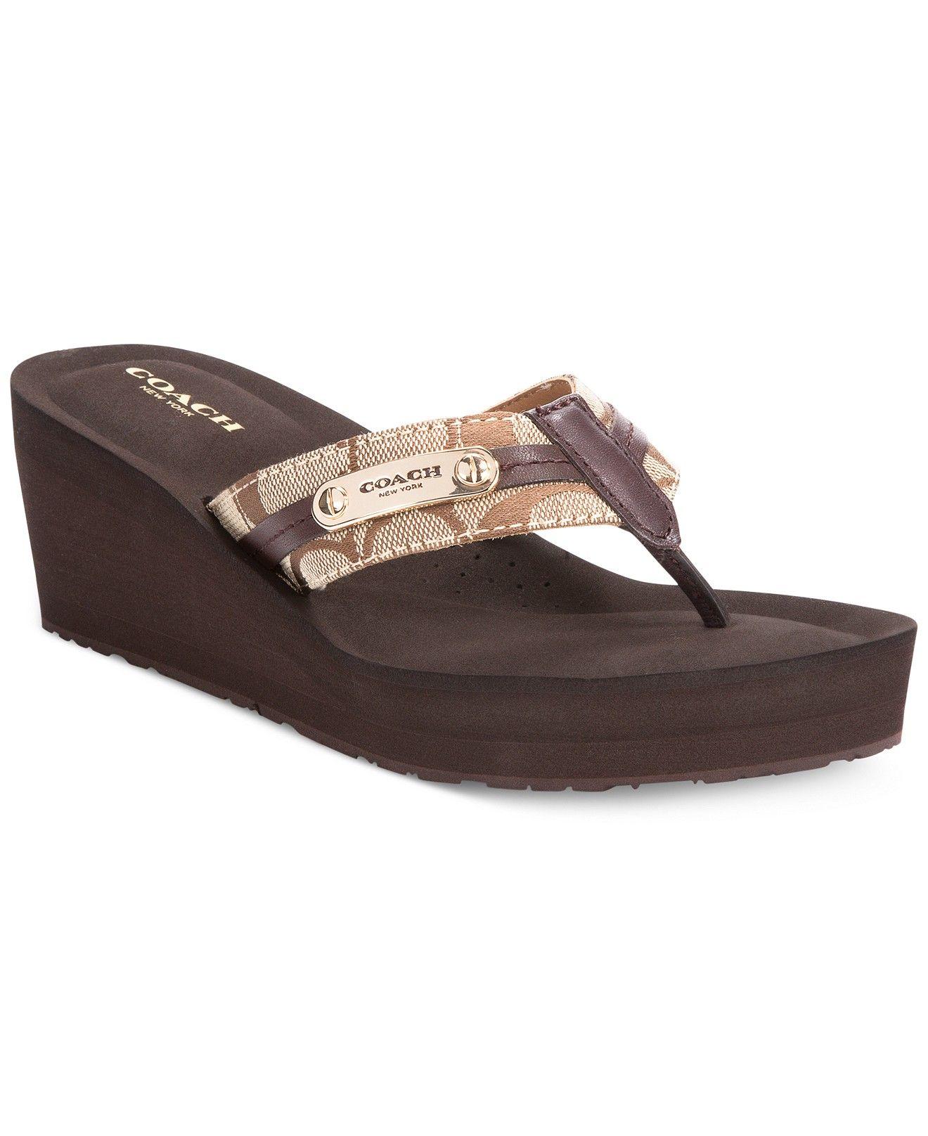 fe5edee268f8 COACH Jaden Wedge Flip Flops - Sandals - Shoes - Macy s