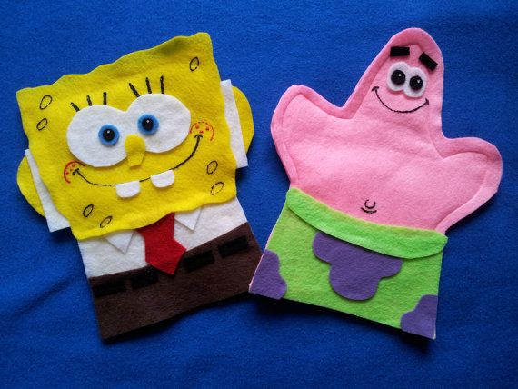 Spongebob and Patrick Felt hand puppets