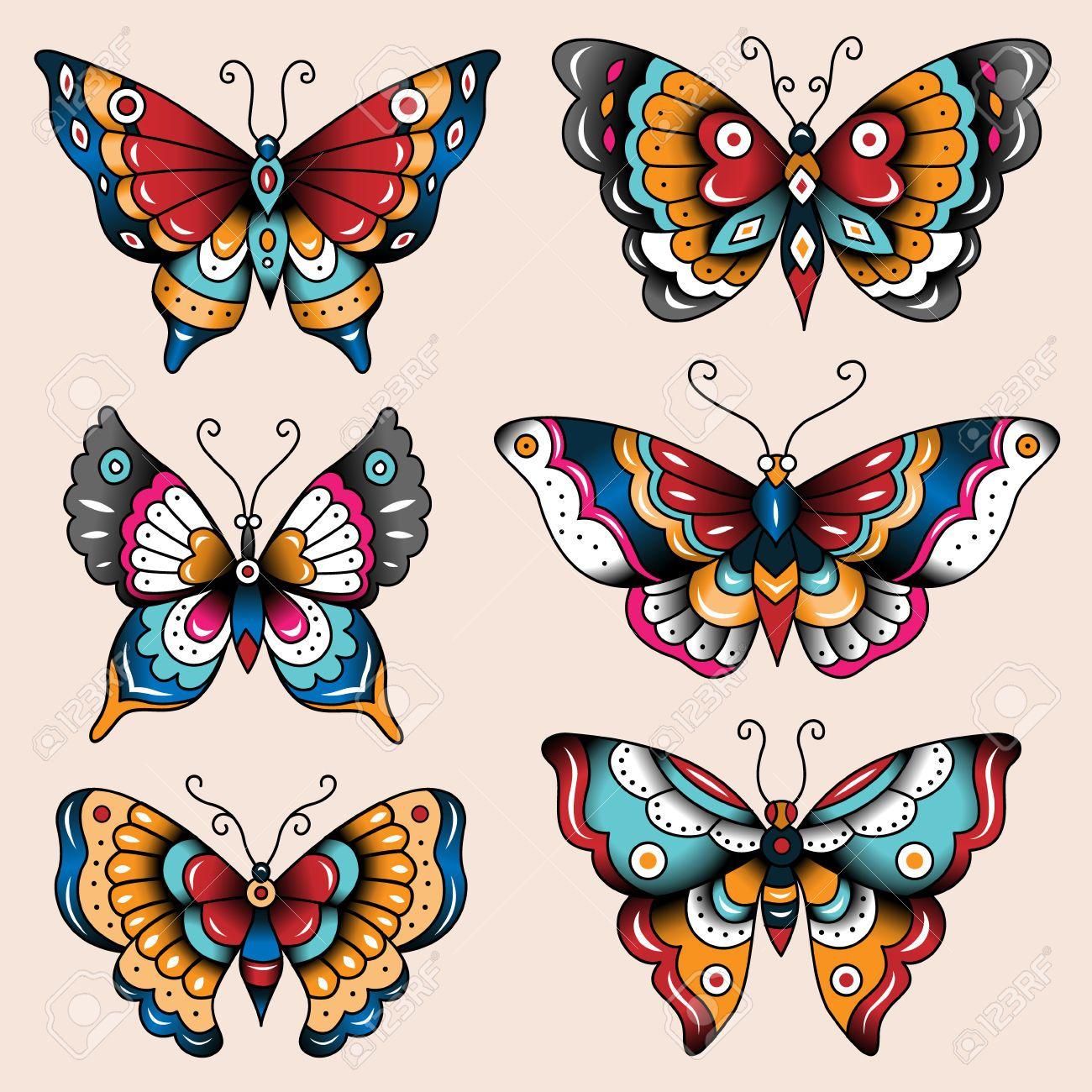 Risultati immagini per disegni old school allenamento for Foto farfalle colorate