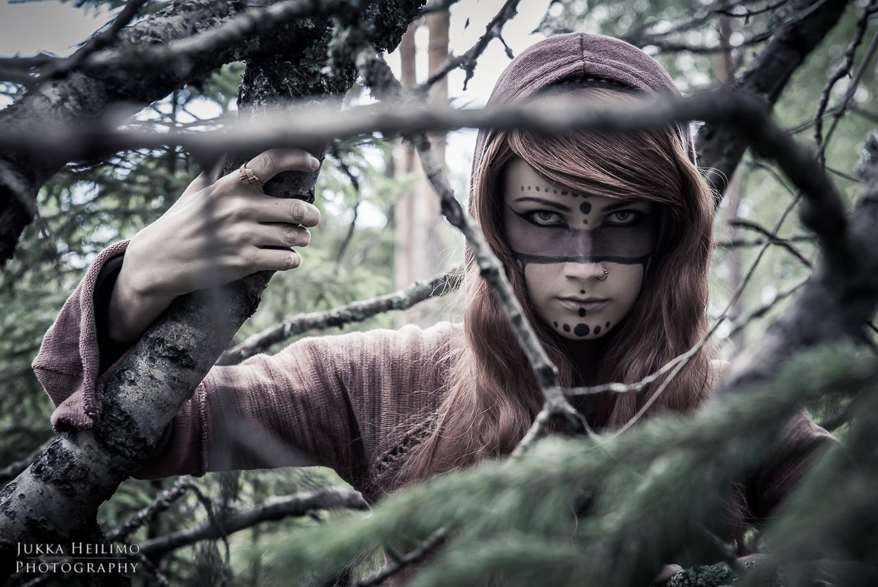 Dark forest shaman photoshoot in the woods - shaman druid indian makeup Photography by Jukka Heilimo
