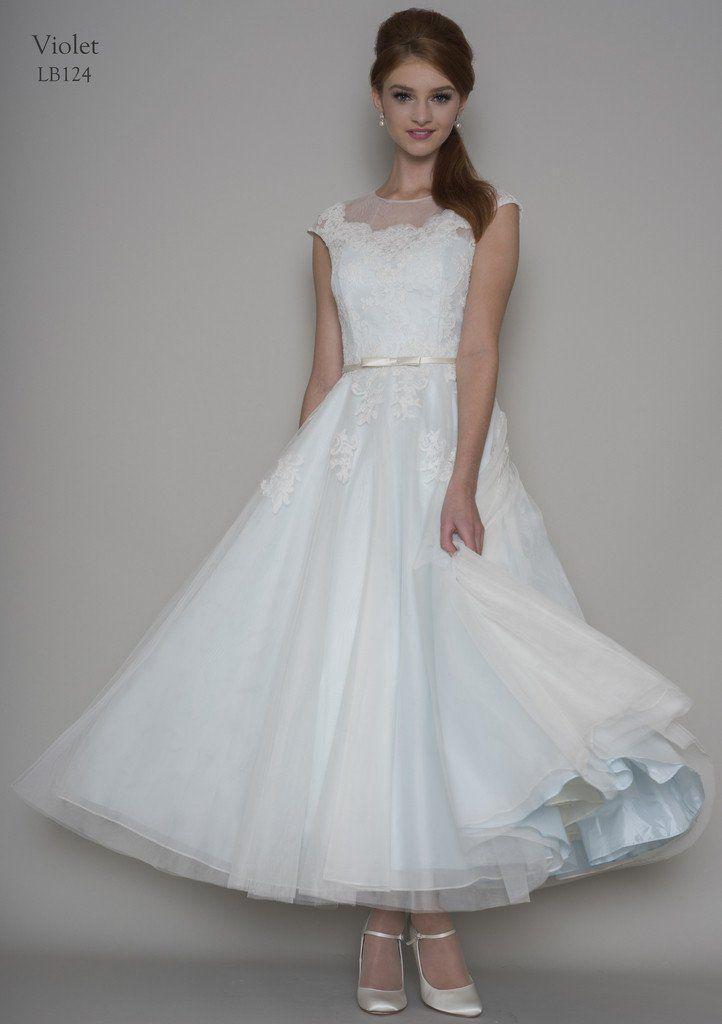 881fc63a24f Lou Lou Bridal  LB124  Violet  tea length wedding dress. Size 22. £500.  Ivory over Ice Blue. Unworn sample.  colouredweddingdress  blueweddingdress  ...