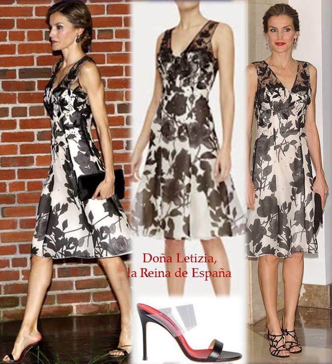 Queen Letizia wore a dress by Carolina Herrera, shoes by Carolina Herrera…